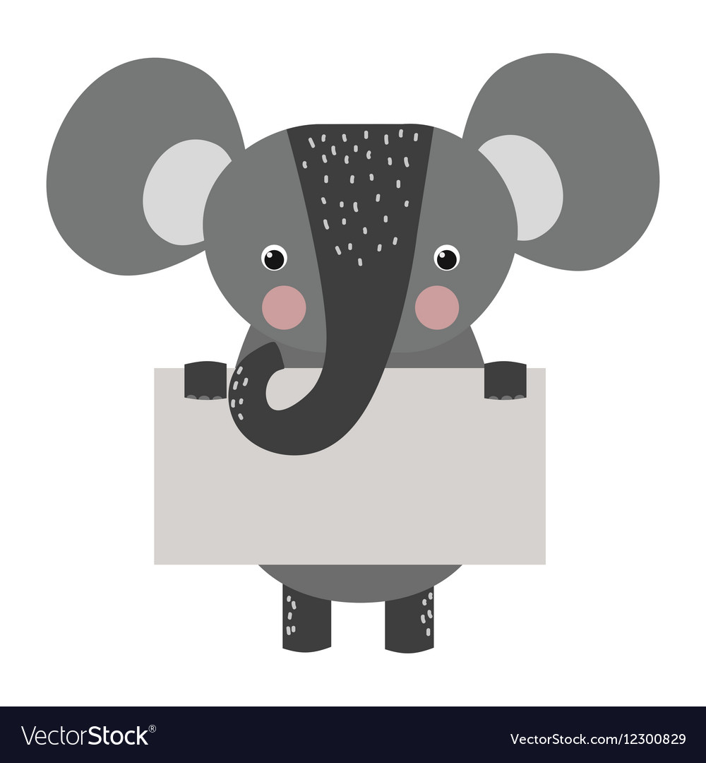 Wild animal elephant strike with clean plate board vector image