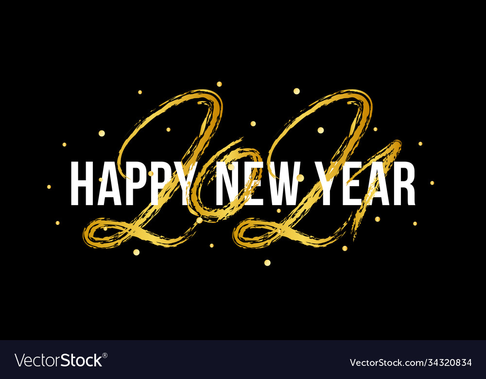 2021 happy new year ox hand drawn text