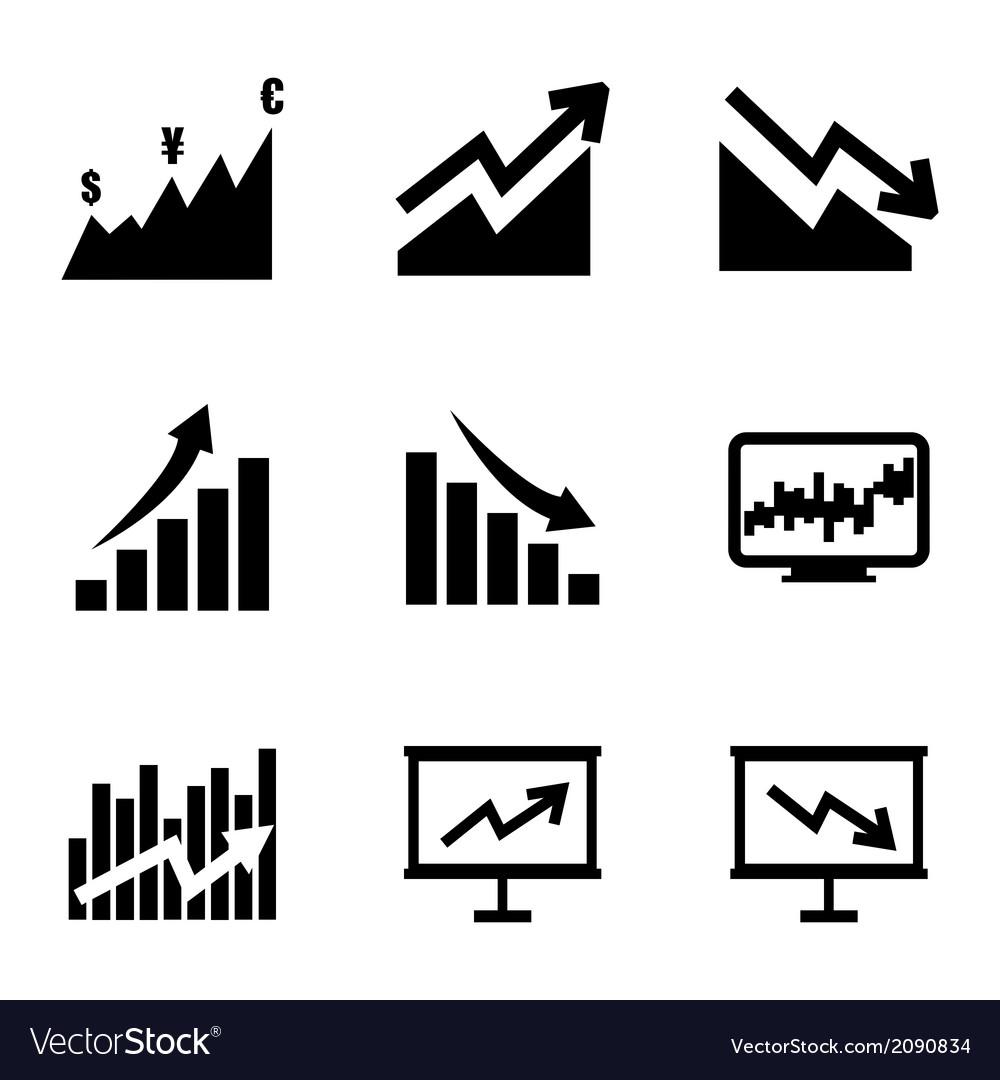 Black economic icons set