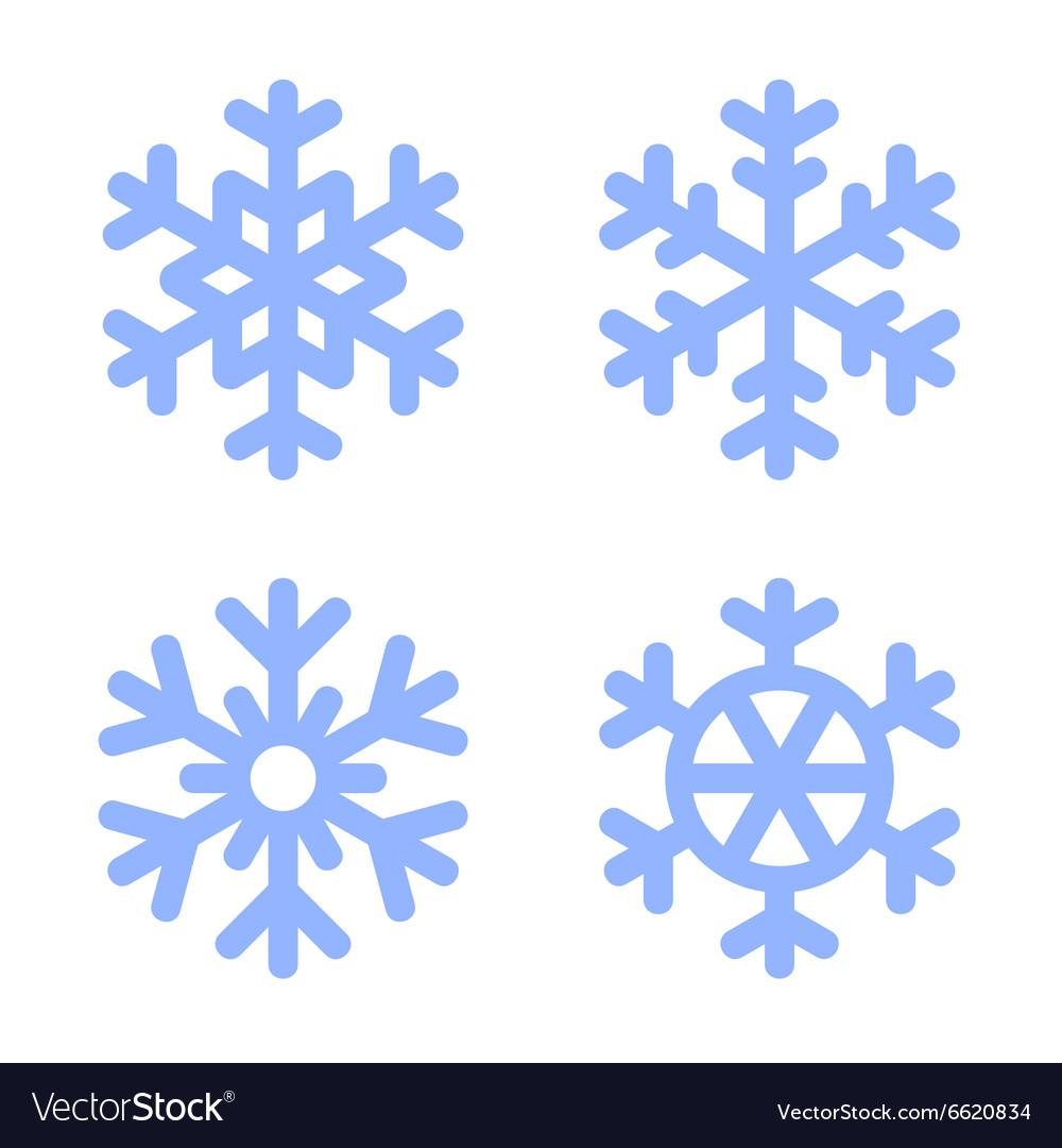Blue Snowflake Icons Set on White Background