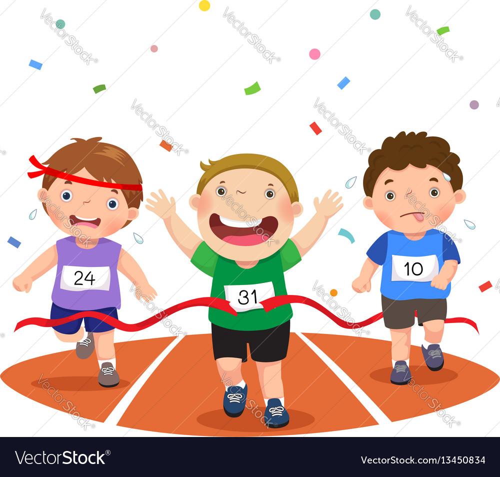 Boys on a race track
