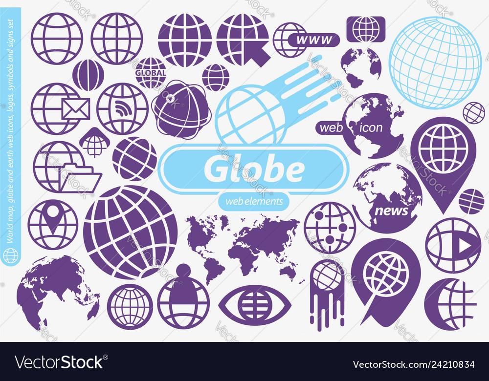 Globe world map and earth symbols icons logos