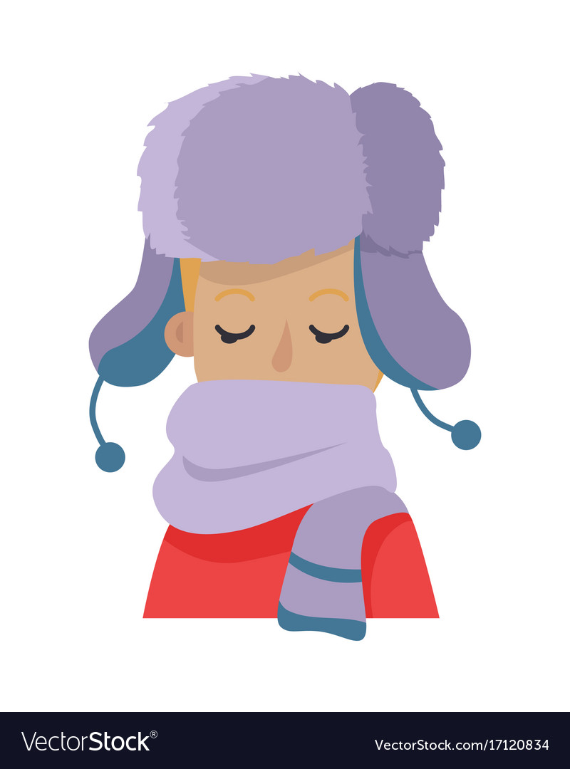 Hat young man hiding his face in violet scarf vector image