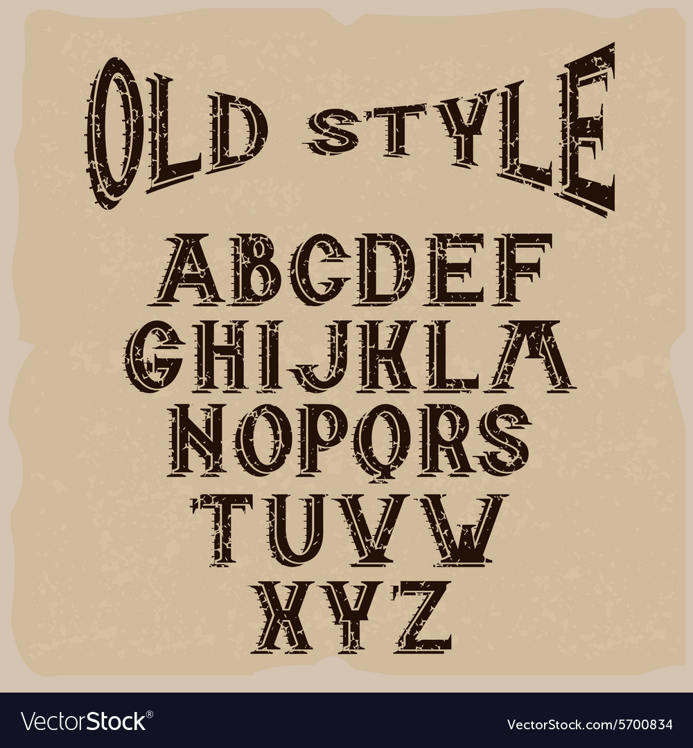 Old style grunge alphabet for labels vector image