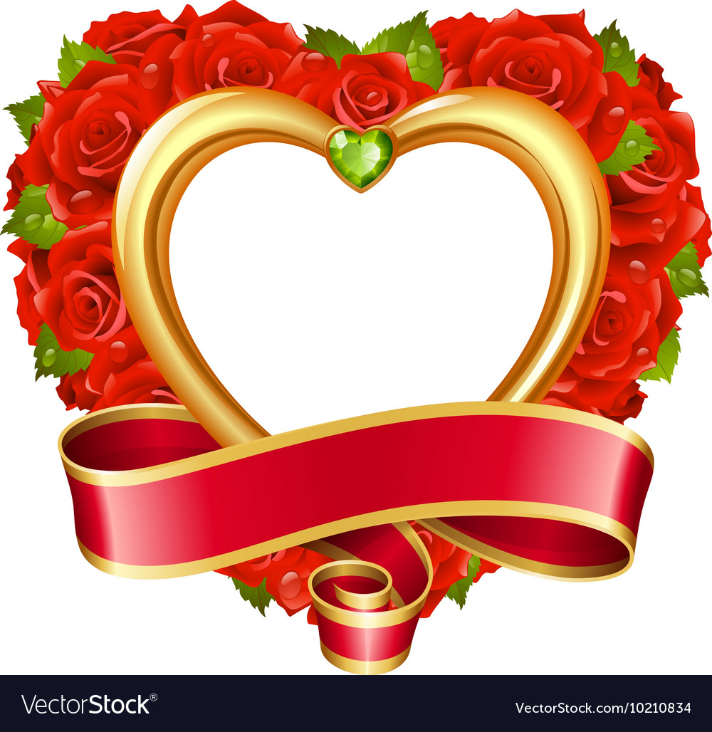Rose frame in the shape of heart Royalty Free Vector Image