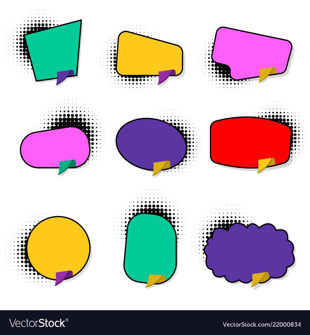 Set hand drawn blank template speech bubbles