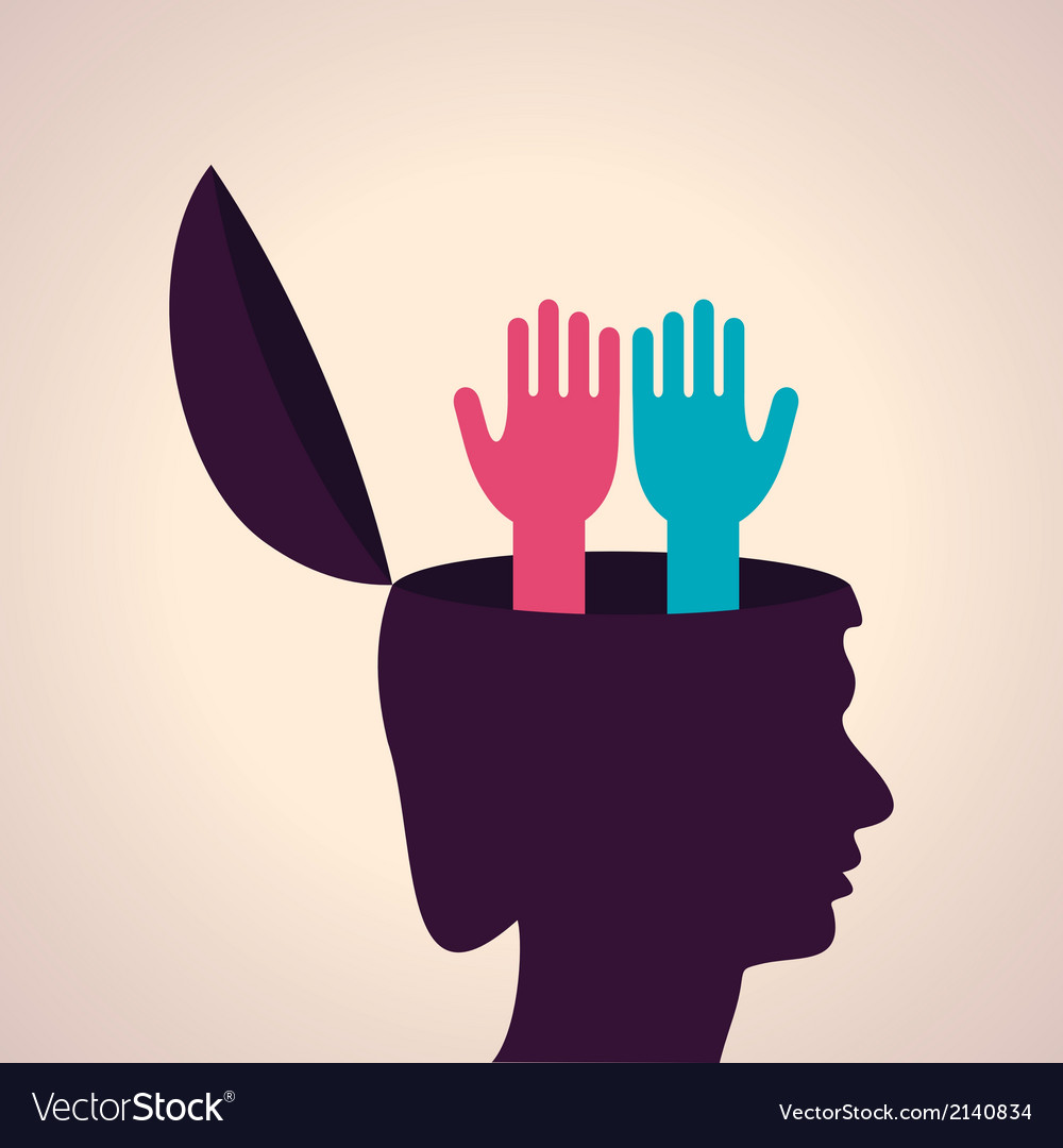 Thinking Concept Human Head With Hand Symbol Vector Image