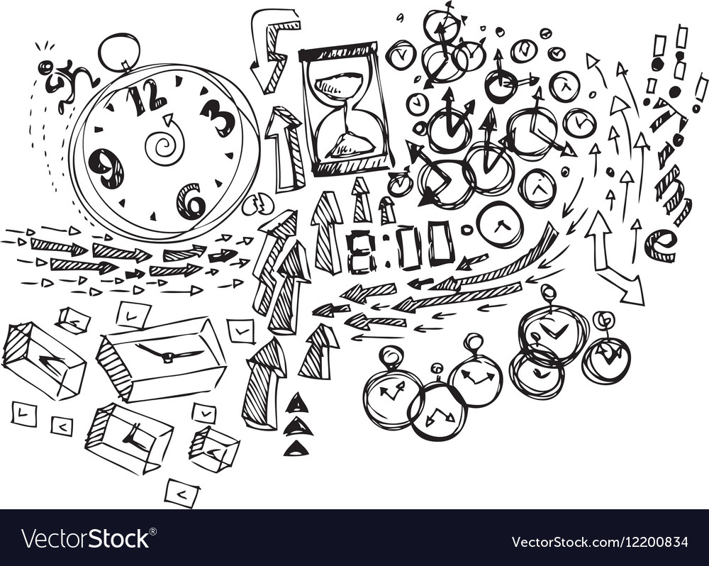 Time Coloring Sketch doodles vector image