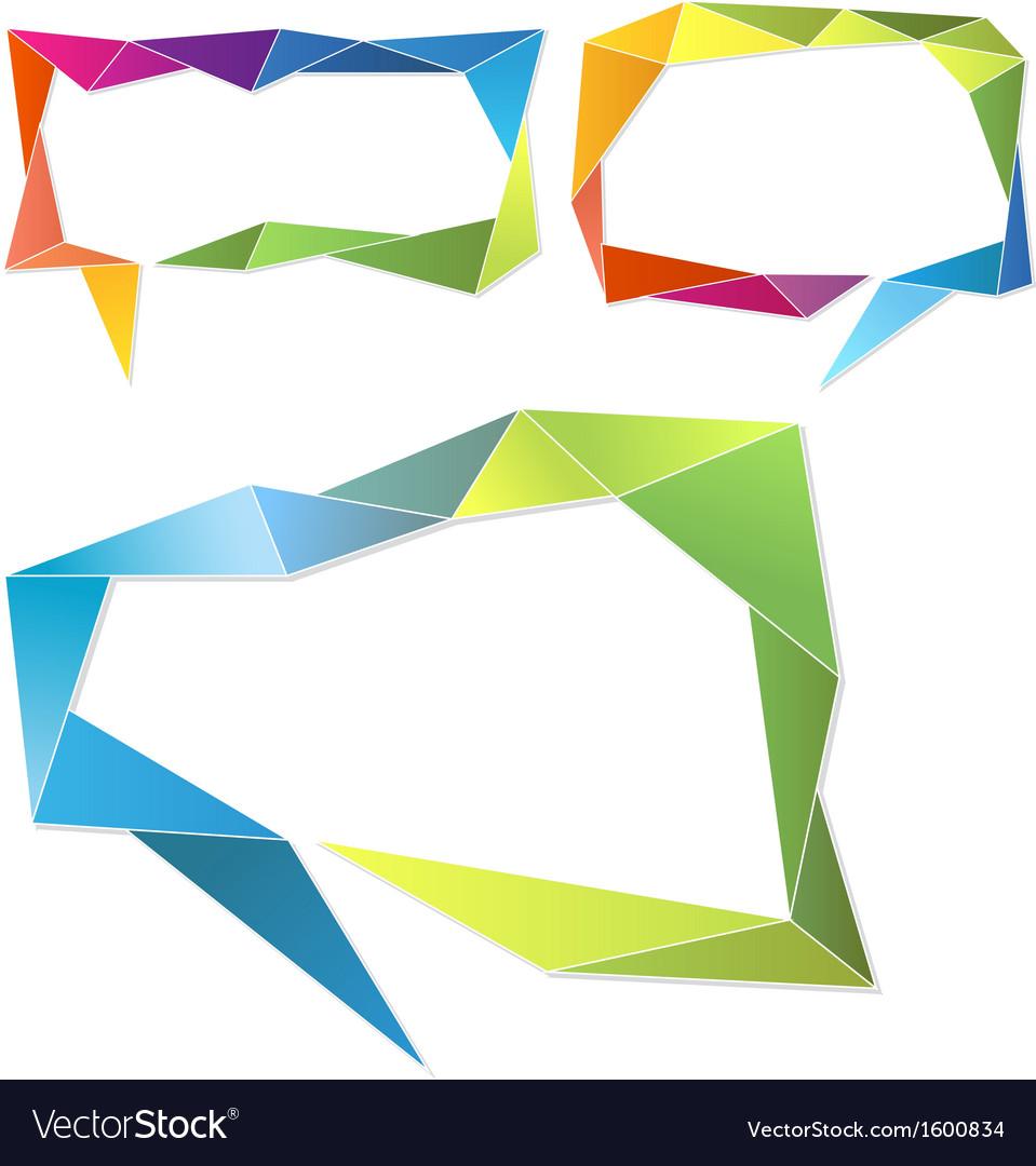 Triangle frames geometric speech bubbles set