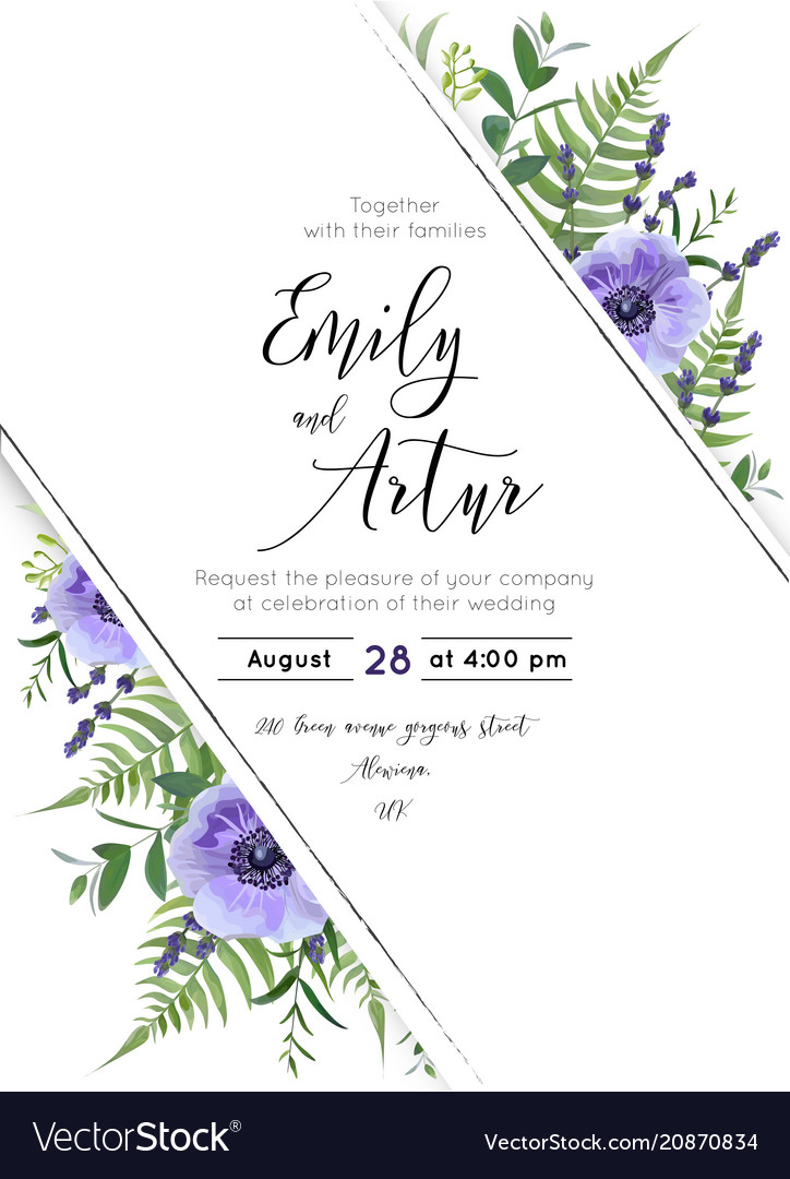 Wedding floral invite save the date design