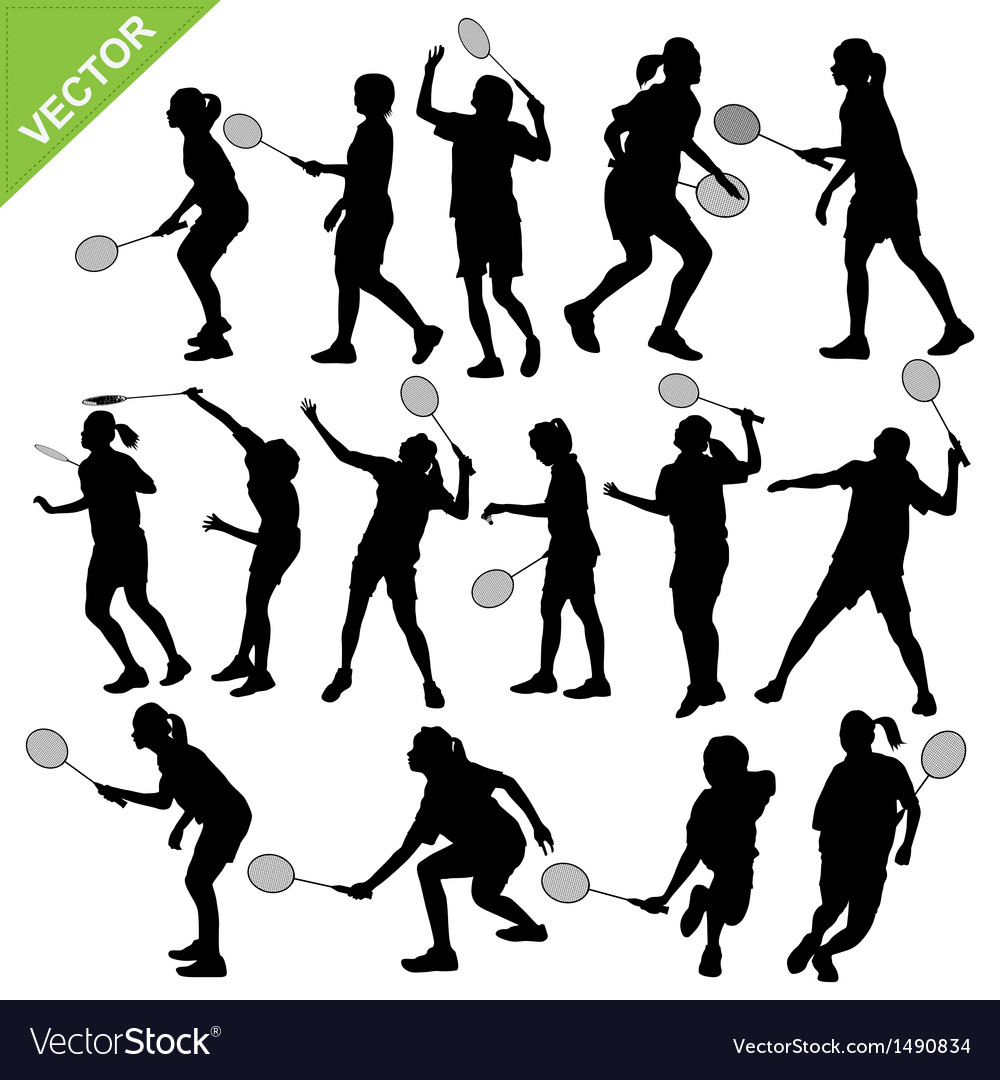 Women silhouettes play Badminton