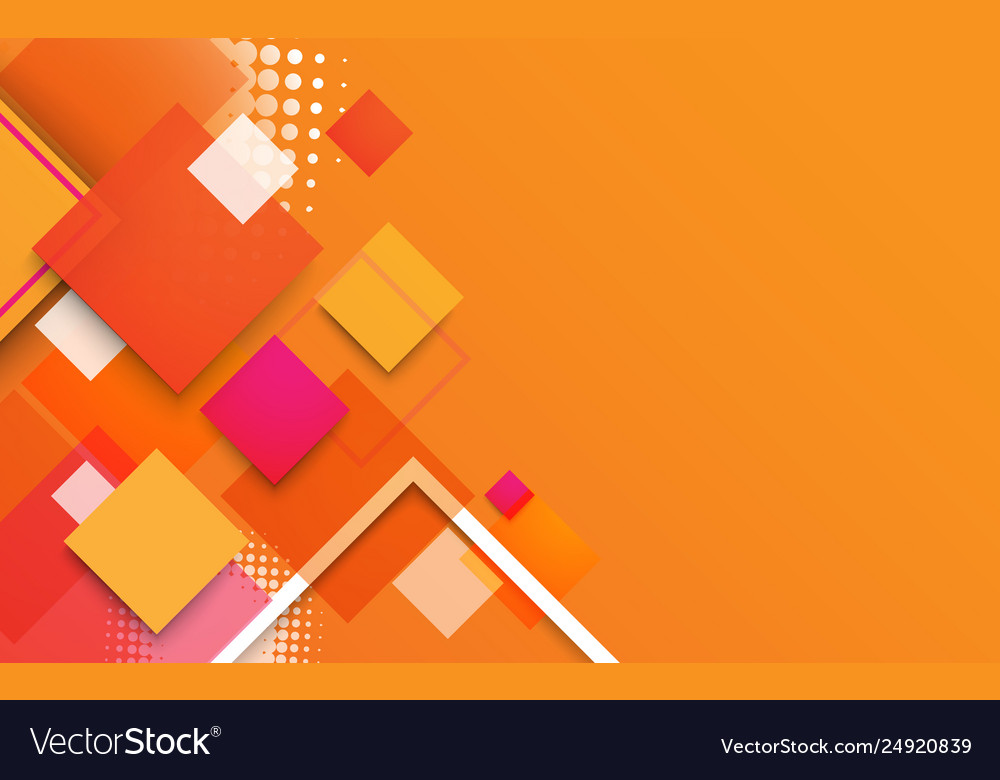 Abstract geometric shapes and colorful banner
