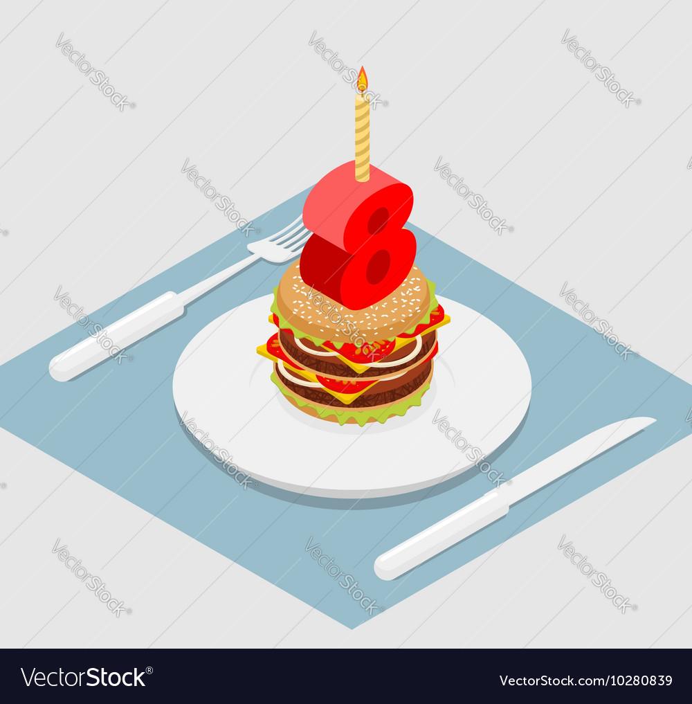 Admirable Birthday 8 Years Old Burger Hamburger And Candle Vector Image Funny Birthday Cards Online Inifodamsfinfo