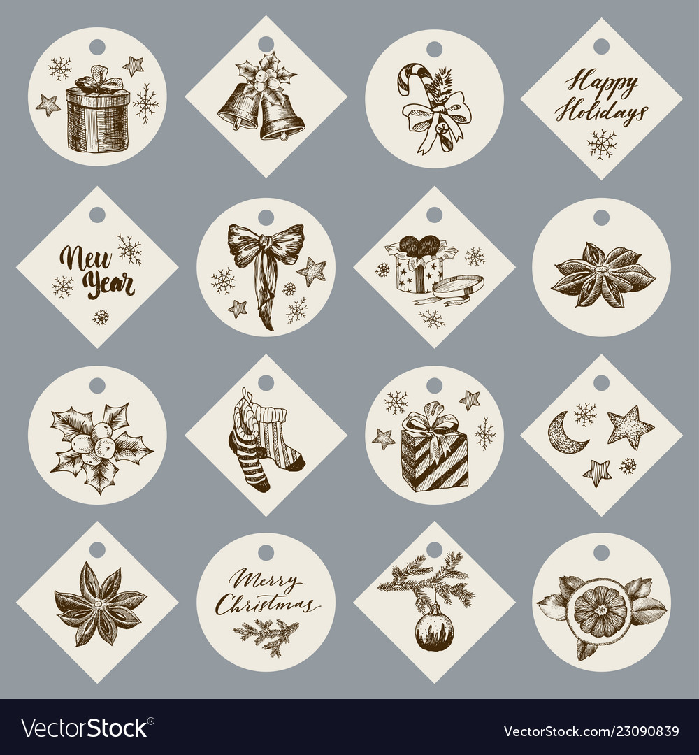 Christmas gift cards or tags with lettering hand