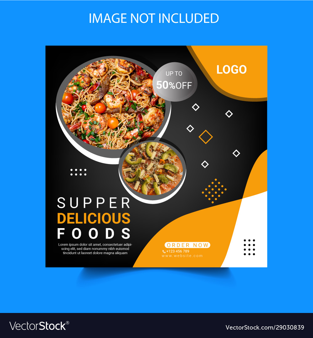 Food And Restaurant Social Media Post Template Vector Image