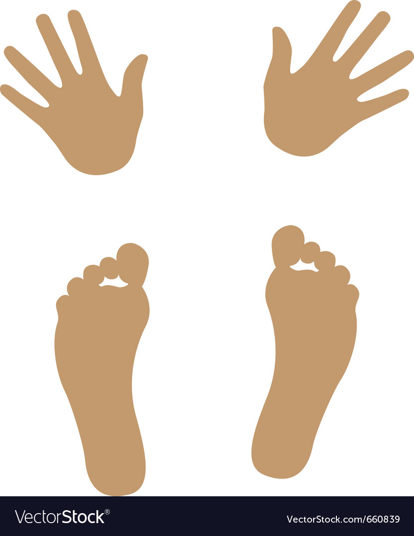 hand and foot silhouette royalty free vector image vectorstock