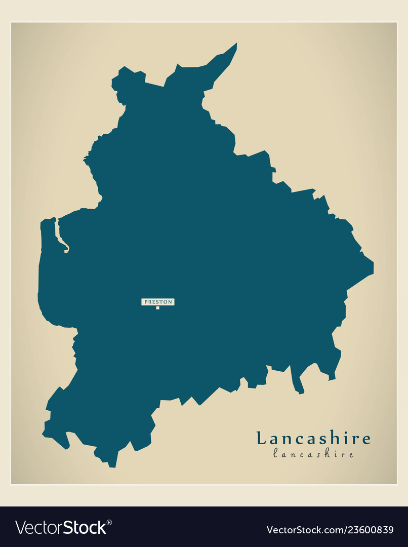 Map Of Counties In England.Modern Map Lancashire County England Uk