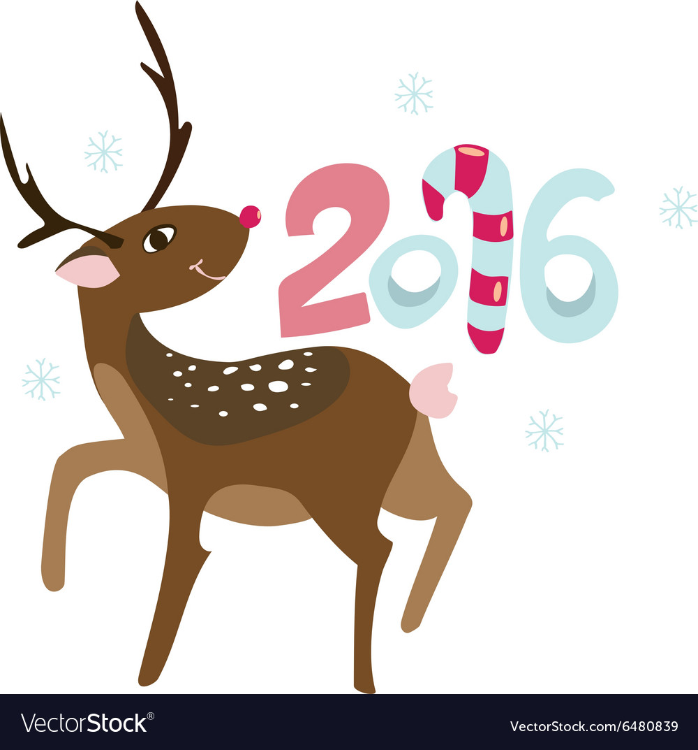 New Years invitation with happy Rudolph deer