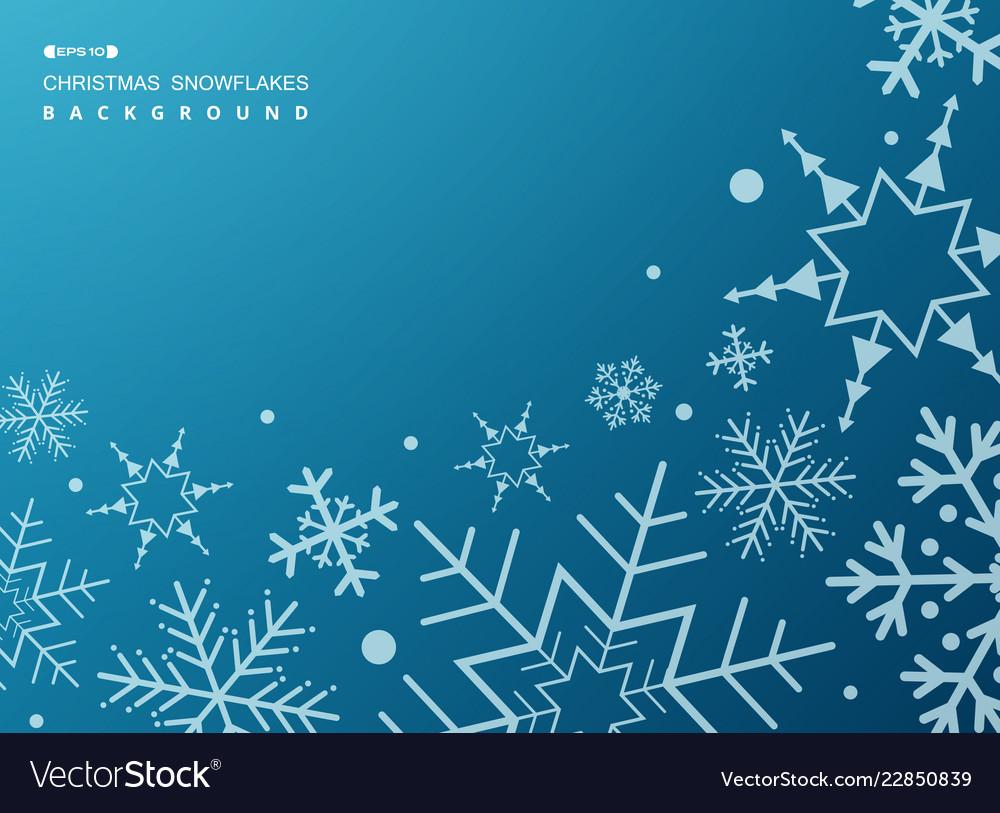 Pattern of white geometric snowflakes on gradient