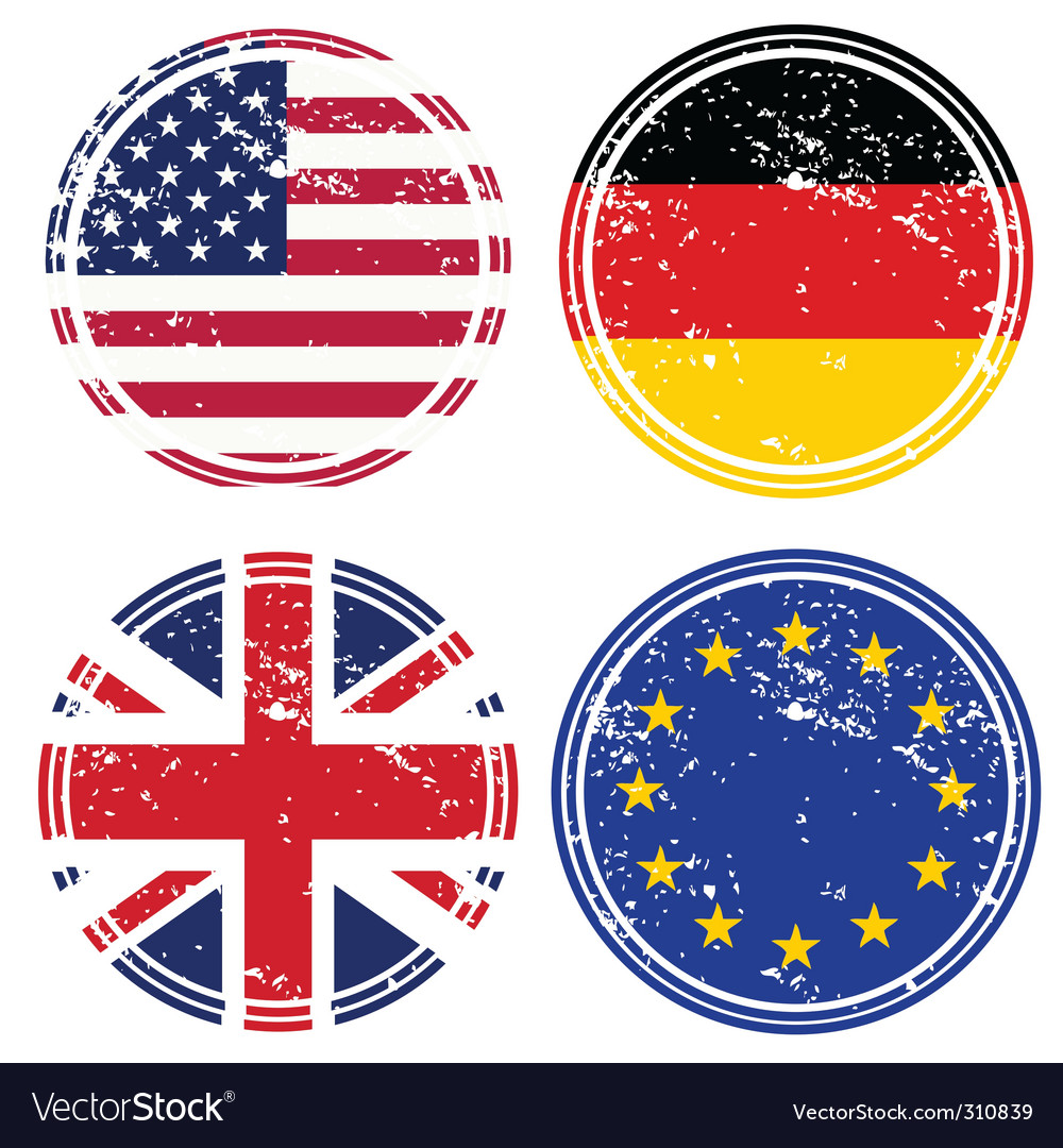 Rubber stamps with flags