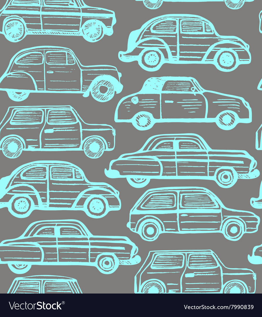 Seamless dark background with retro cars
