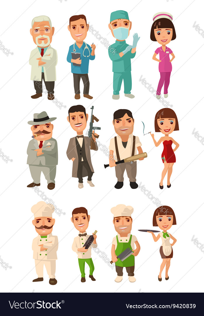 Set icon character cook mafia doctor Waiter
