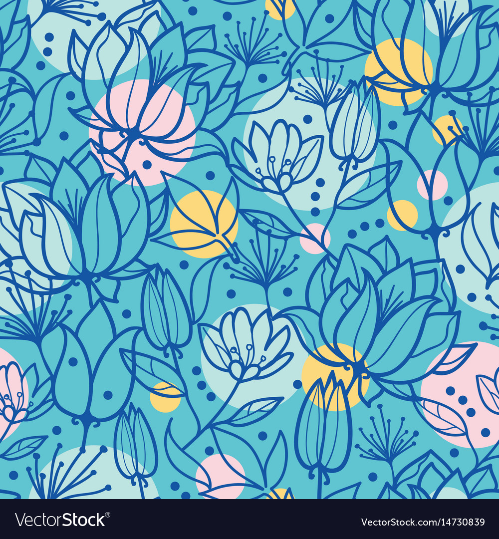 Spring flowers and bubbles seamless repeat vector image
