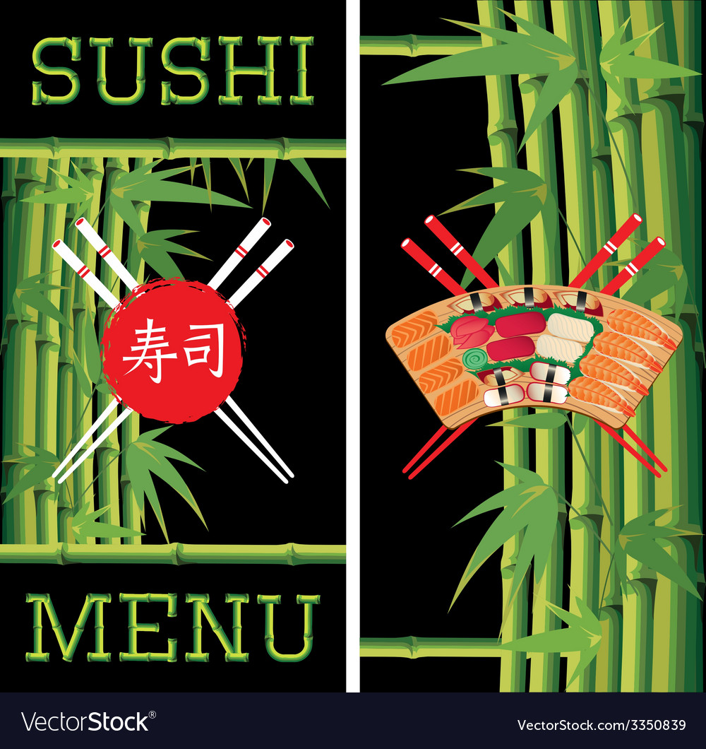 Template for sushi menu with bamboo