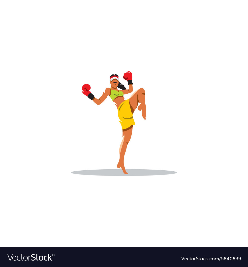 Thai boxing girl sign vector image