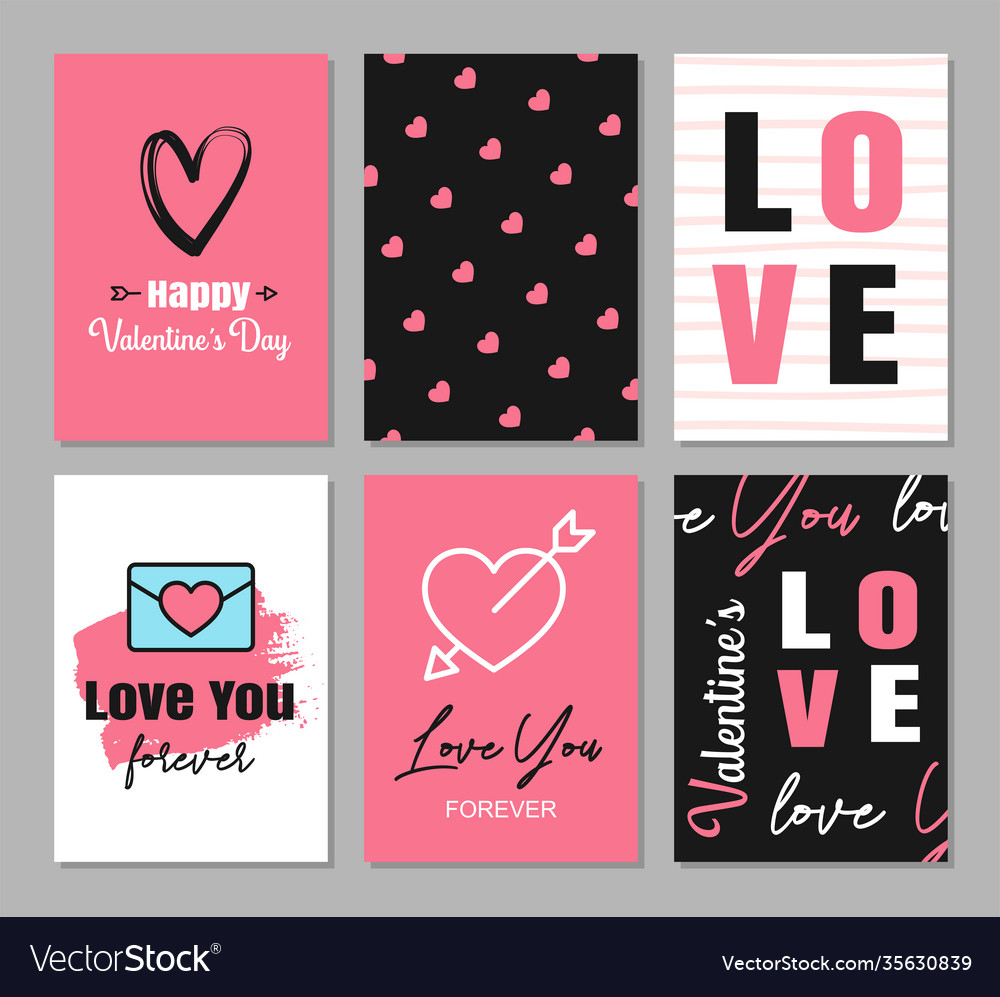Valentines day greeting cards with hearts and