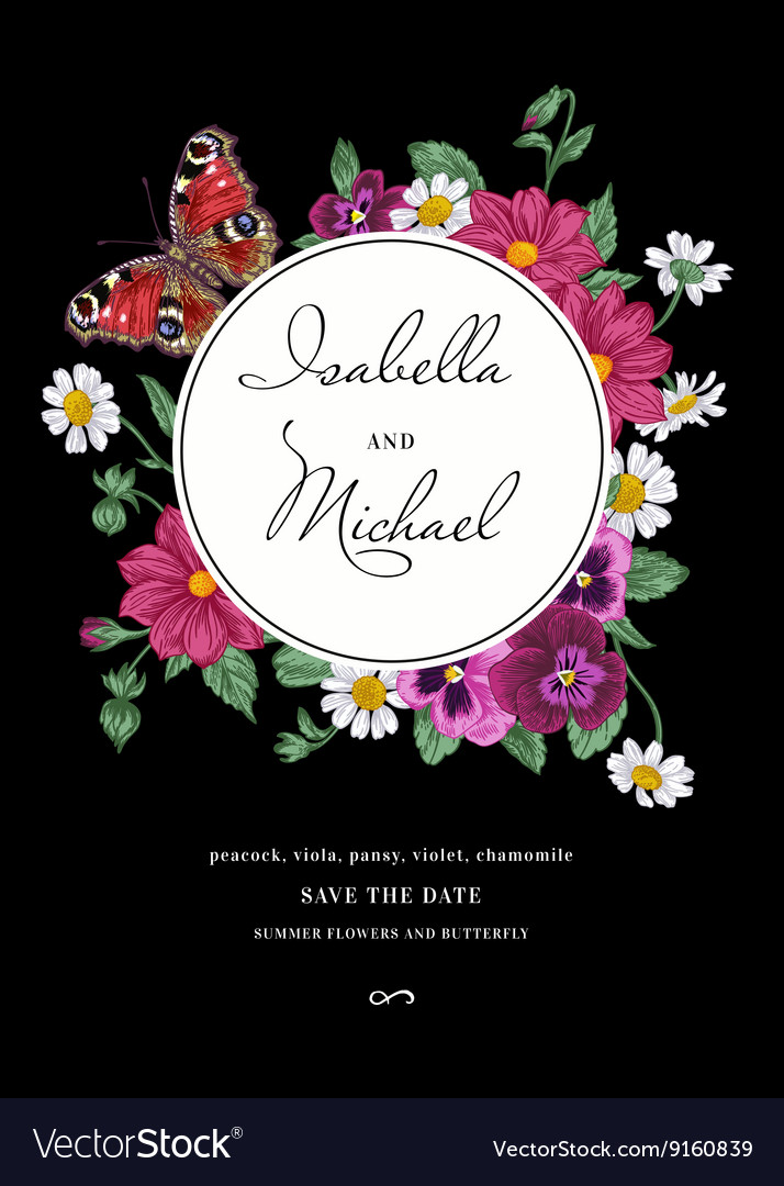 Vintage wedding invitation in the bohemian style vector image