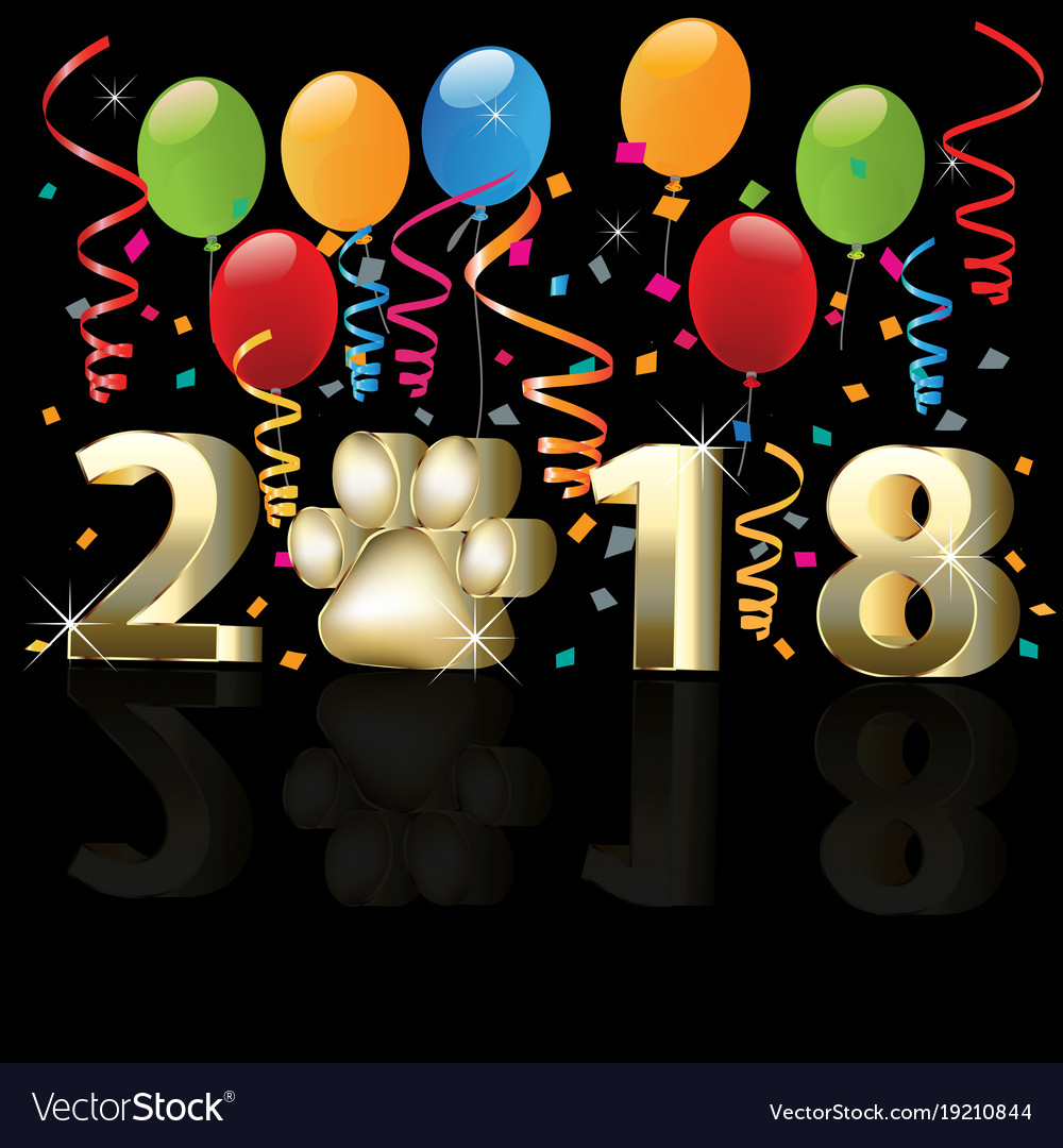 2018 happy new year with balloons and confetti