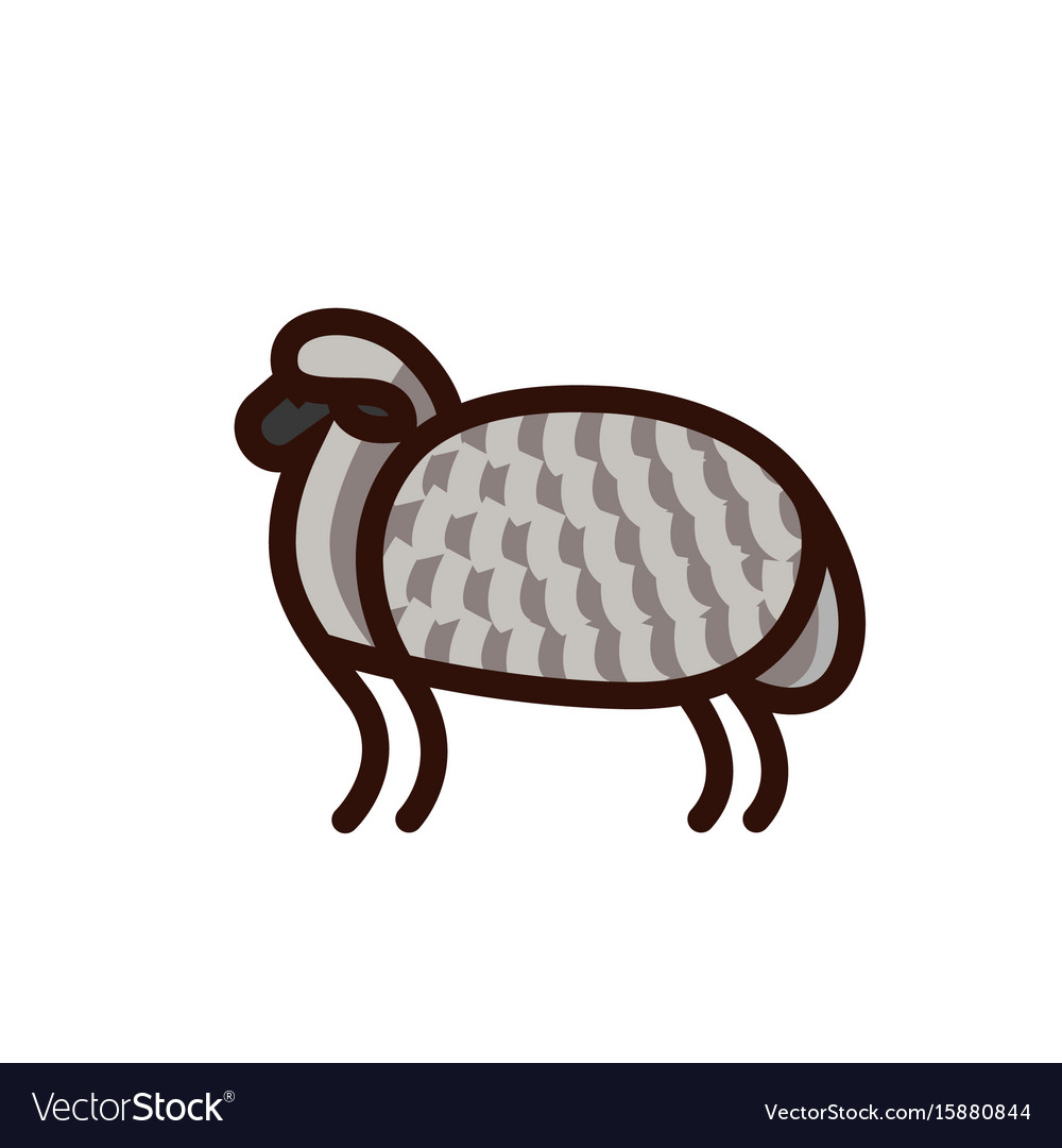 Black and white drawing of sheep