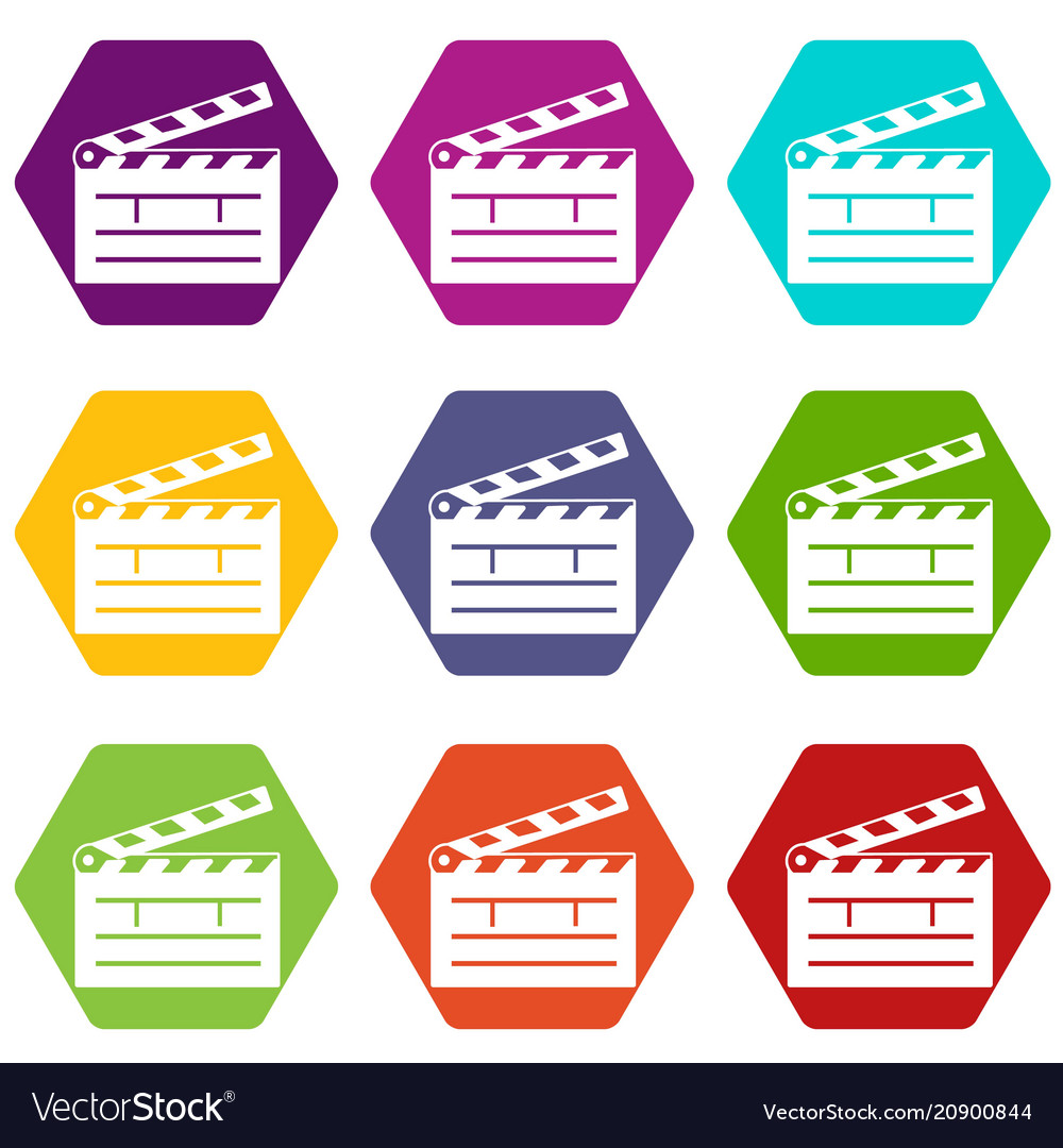 Clapper icons set 9 vector image