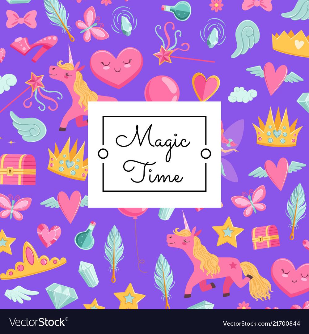 Cute cartoon magic and fairytale with