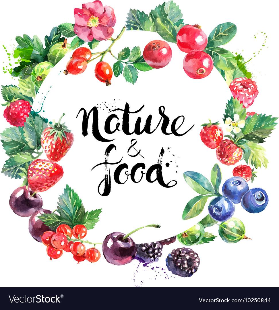 Eco food organic cafe menu design Watercolor hand