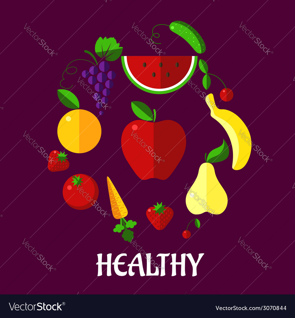 Healthy eating poster with fruits and vegetabkes