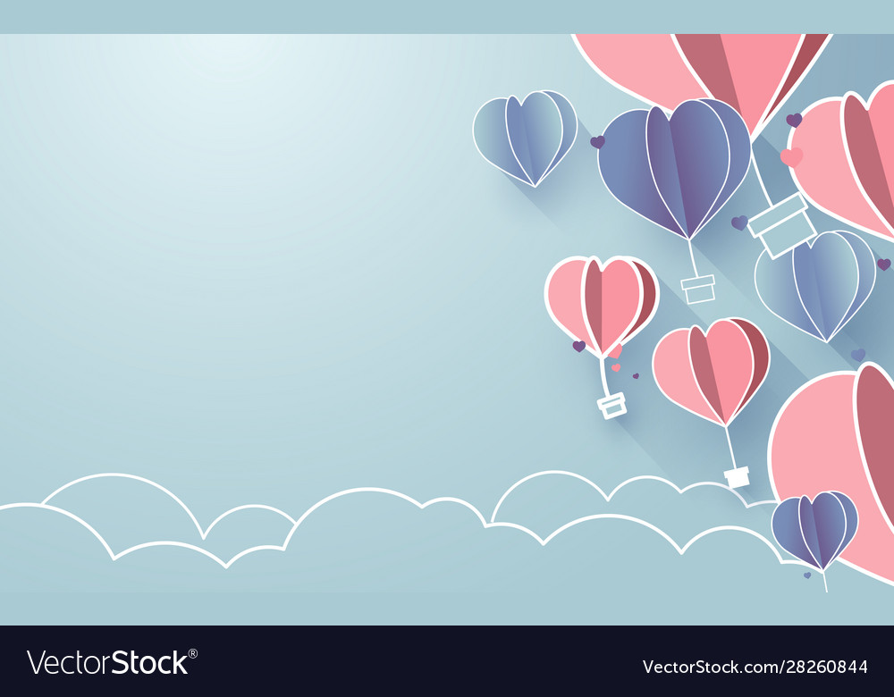 Hearts shaped balloons flying in sky paper art