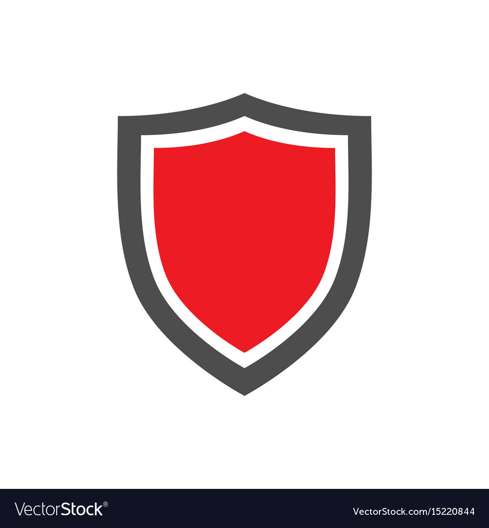 Protection shield icon with red center placed on vector image