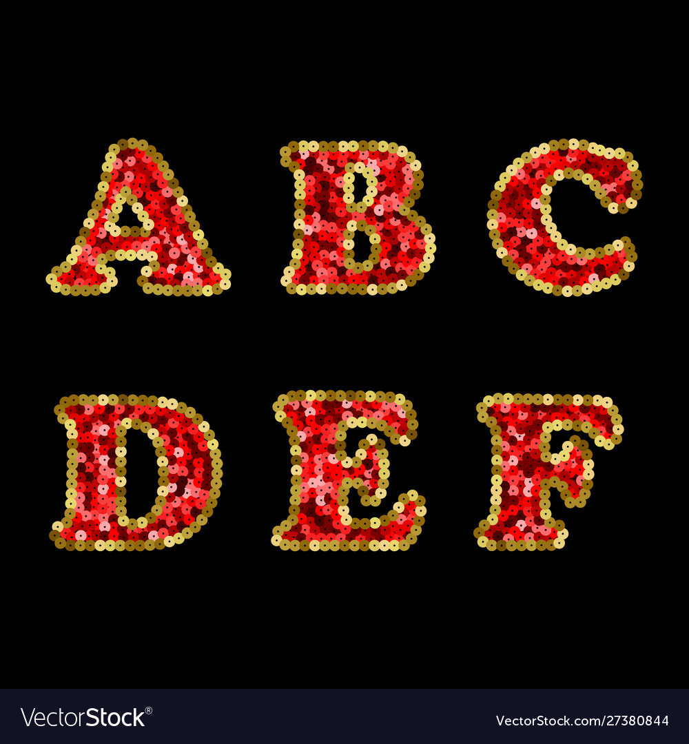 Sequin red and gold alphabet part 1