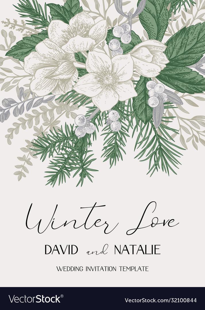 Winter wedding delicate invitation