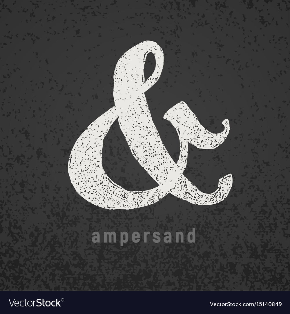 Ampersand elegant chalk symbol on grunge