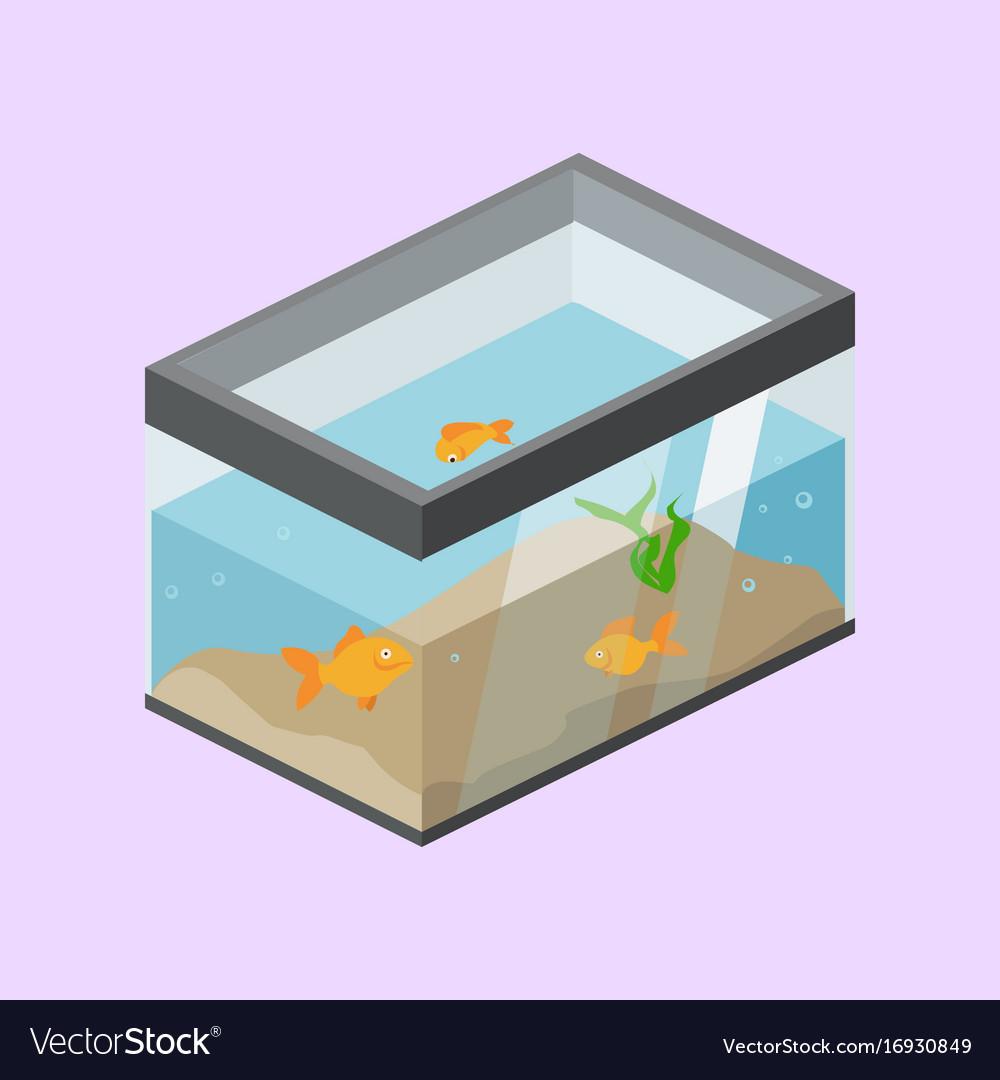 Aquarium with fish isometric