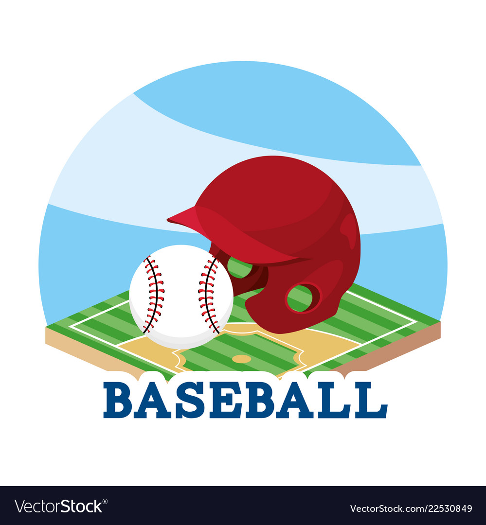 Baseball helmet and ball in the field game