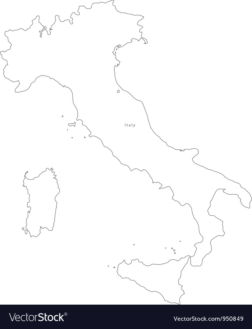 Black White Italy Outline Map Royalty Free Vector Image