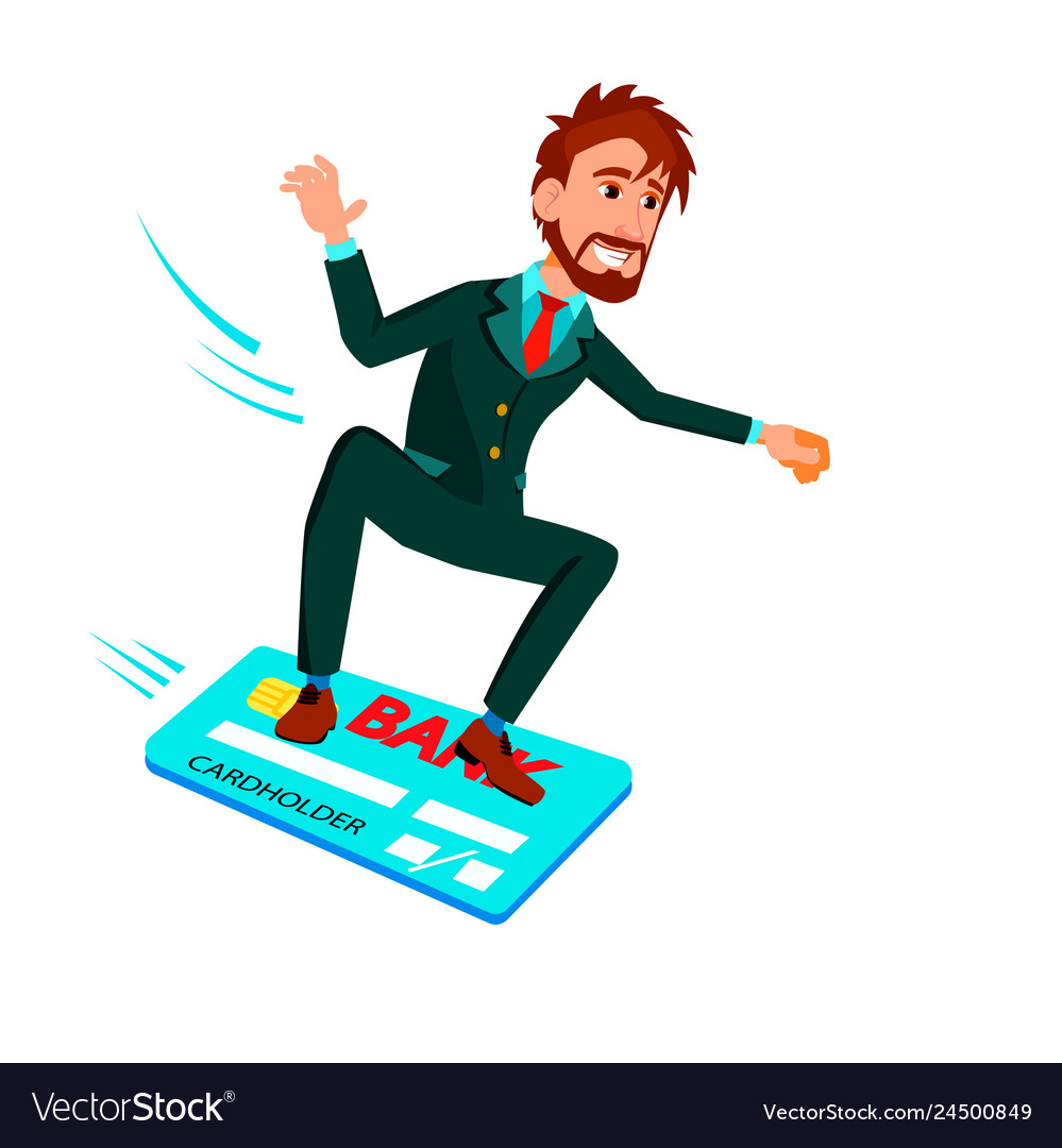 Businessman sliding on credit card like on