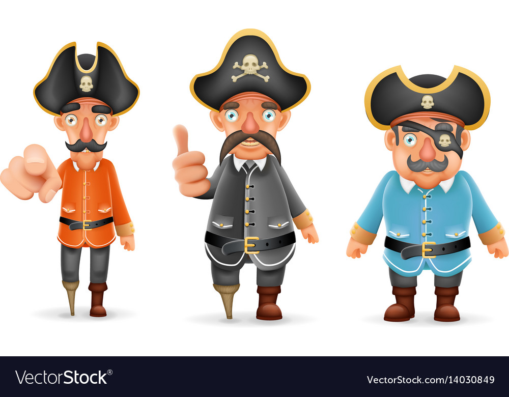Captain pirate funny pointing thumbs up 3d vector image