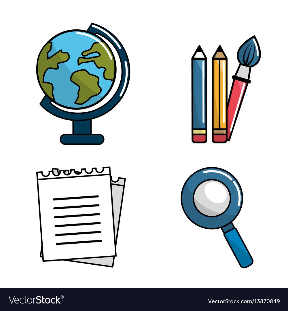 Color school tools icon