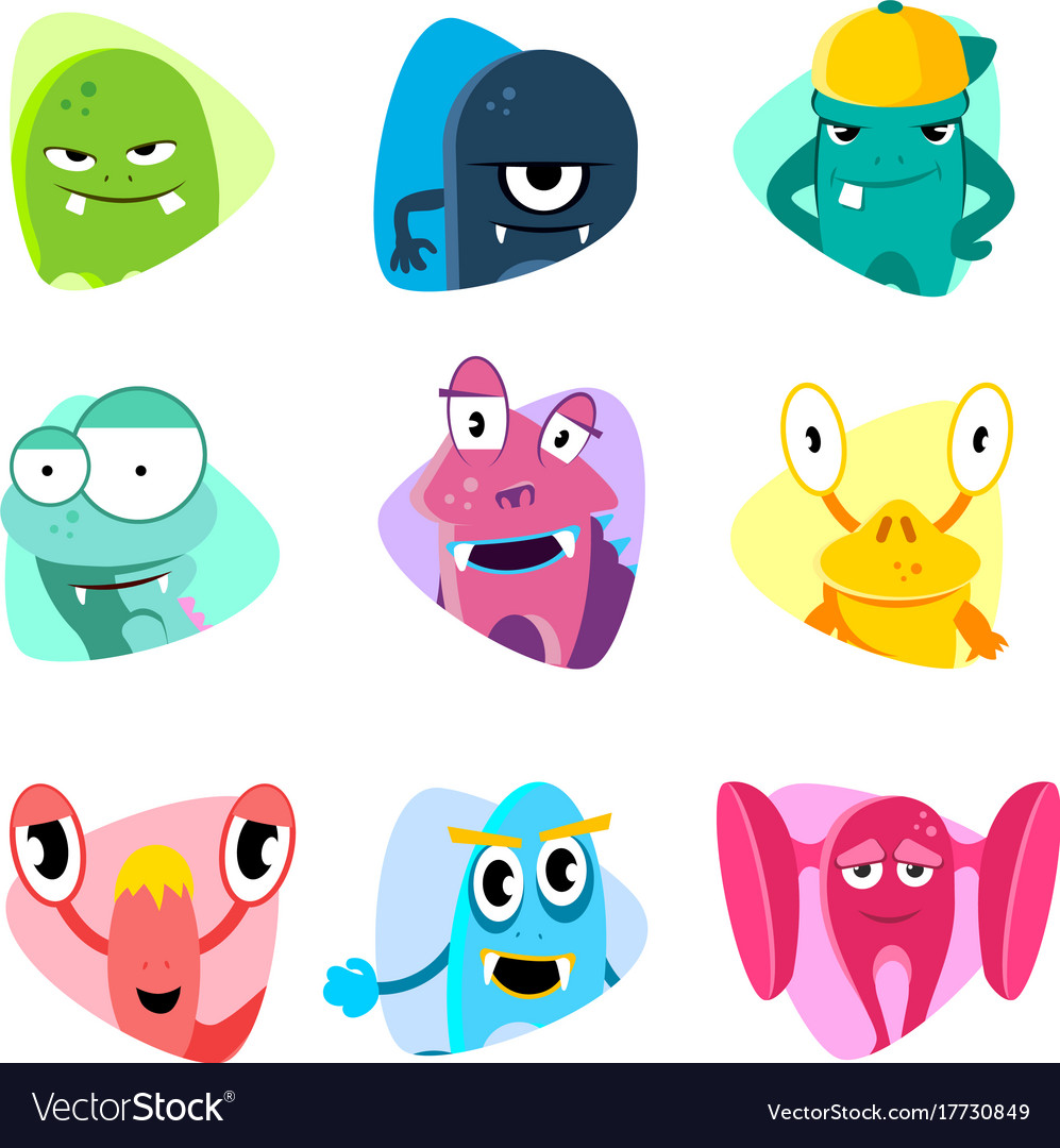 Cute cartoon avatars and icons monster faces