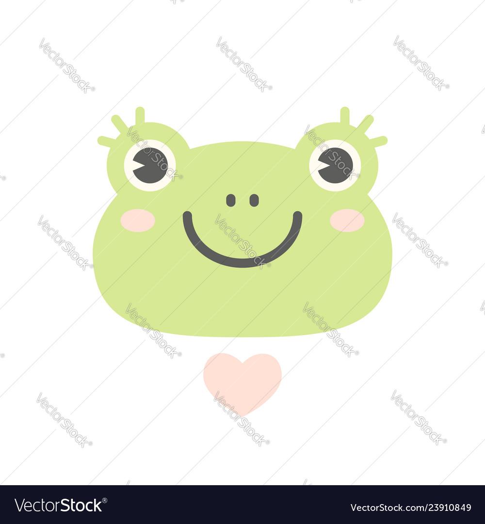 Cute flat frog logo or icon